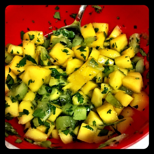 Mango Kiwi Salsa- makes enough for 2 fish filets with leftovers